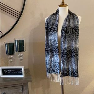 100% acrylic tapestry scarf with fringe
